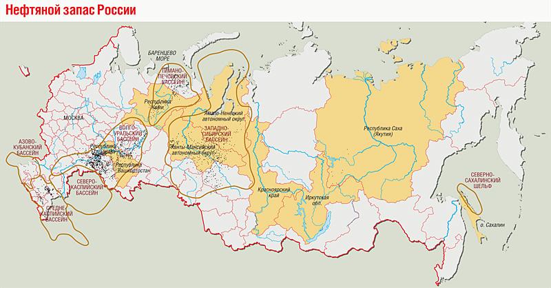 Карта нефтяных месторождений россии